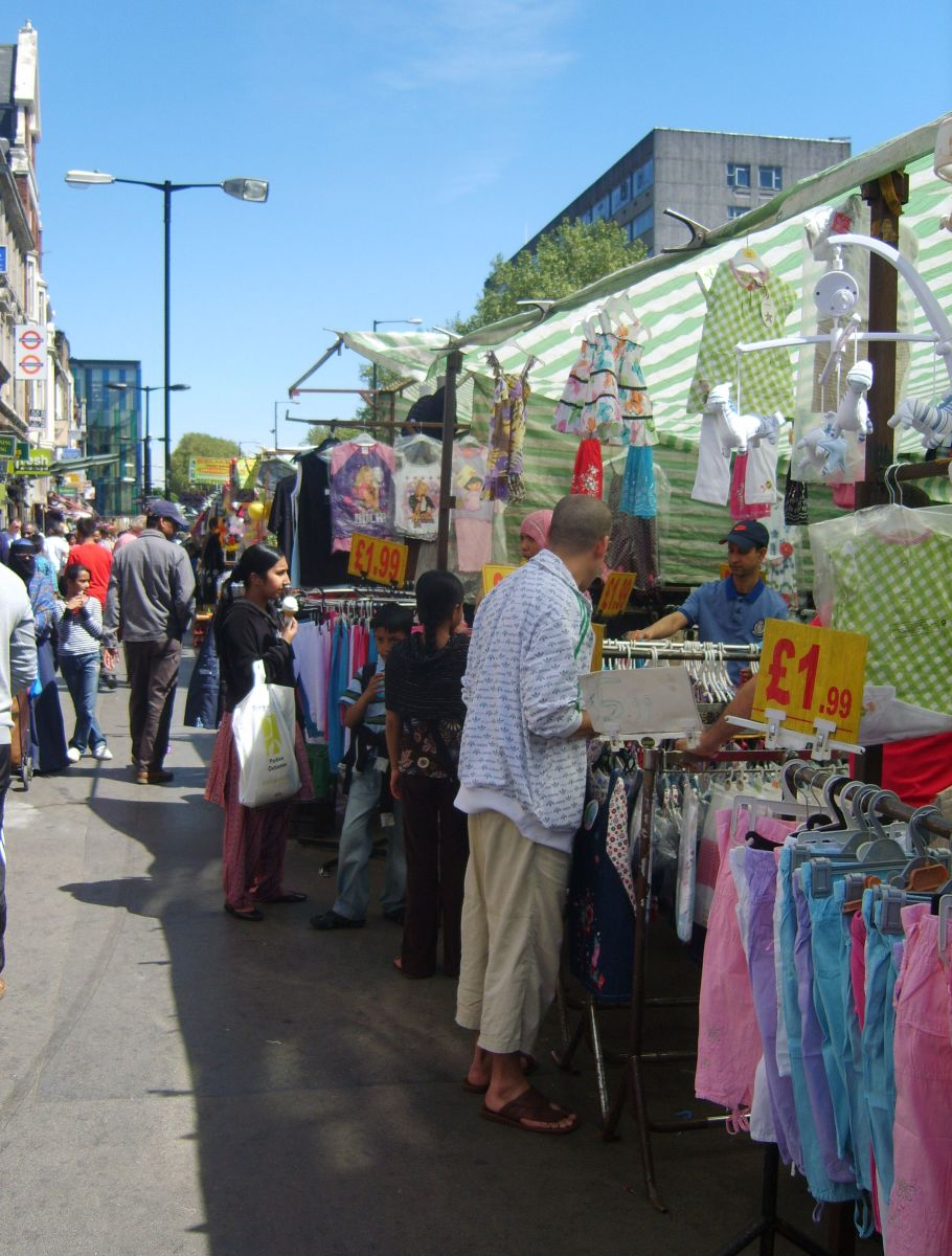 A modern market in Whitechapel: the street was a hotbed of criminal activity in the 18th and 19th centuries.