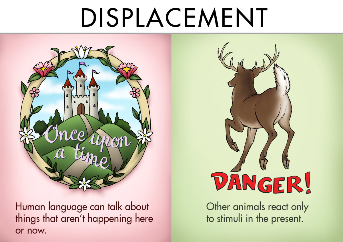 Displacement: Human language can talk about things that aren't happening here or now. Other animals react only to stimuli in the present.