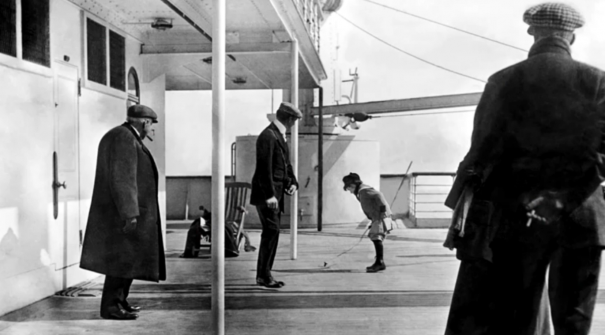 Passengers on one of the decks of the Titanic.