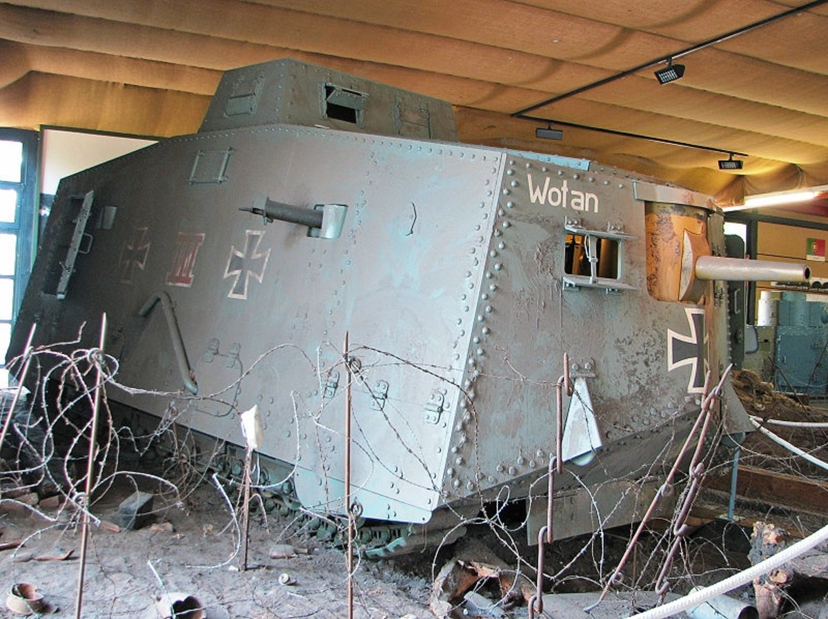 "WW1: Replica of German A7V heavy tank ""Wotan"" showing its cannon and a machinegun."