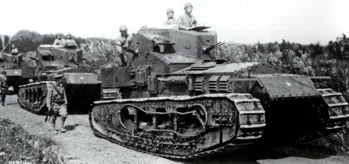 Mark A Whippet tanks used by Imperial Japanese Army after World War I.
