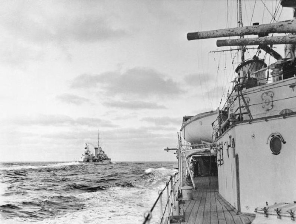 WW2: The cruiser HMS ACHILLES seen from HMS AJAX at the Battle of the River Plate.