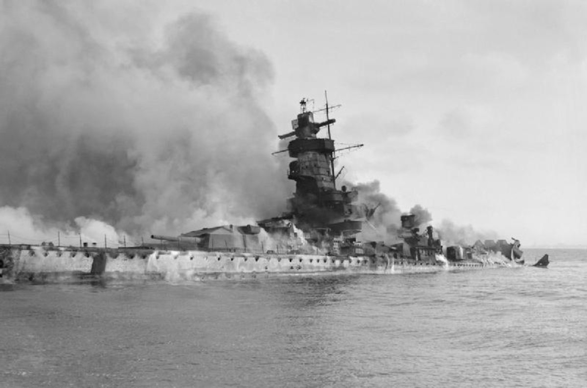 WW2: The German battleship Admiral Graf Spee in flames after being scuttled in the River Plate Estuary off Montevideo, Uruguay.