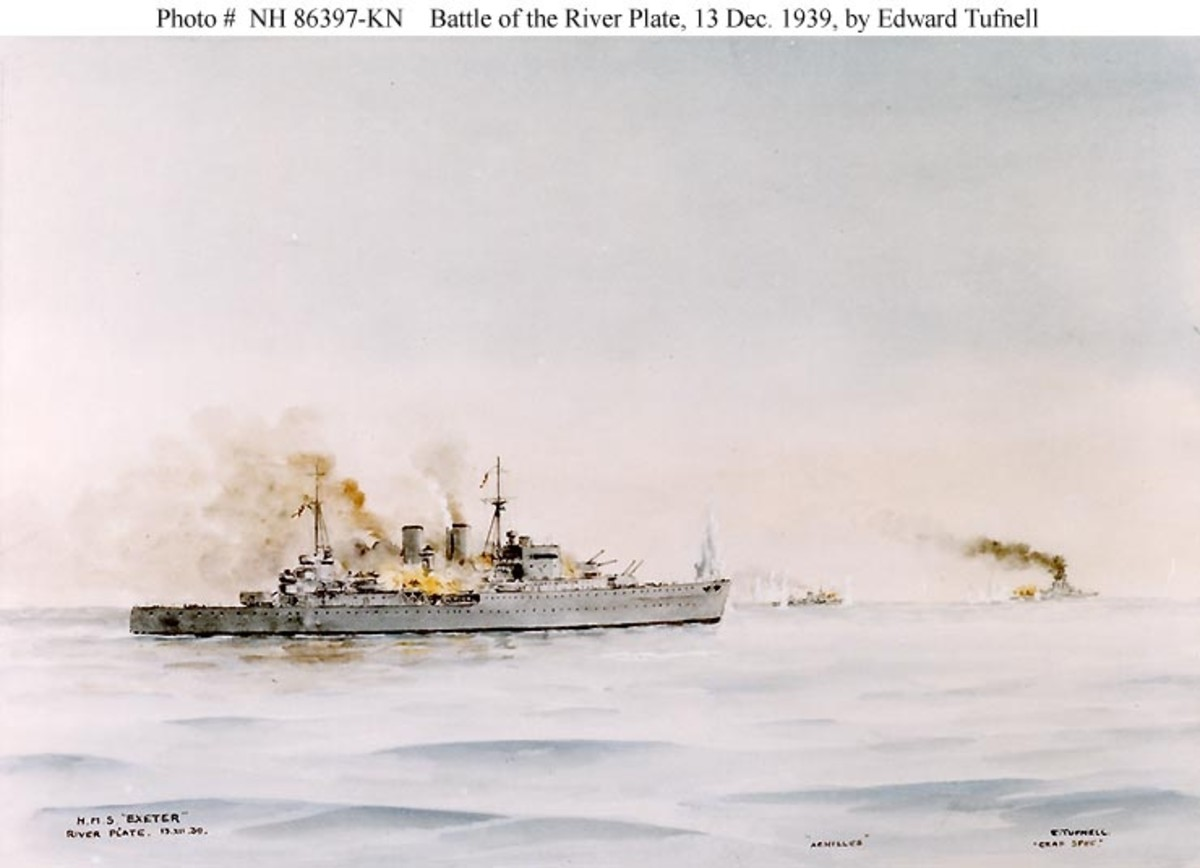 Watercolor depicting the cruisers HMS Exeter (foreground) and HMNZS Achilles (right center background) in action with the German armored ship Admiral Graf Spee (right background).