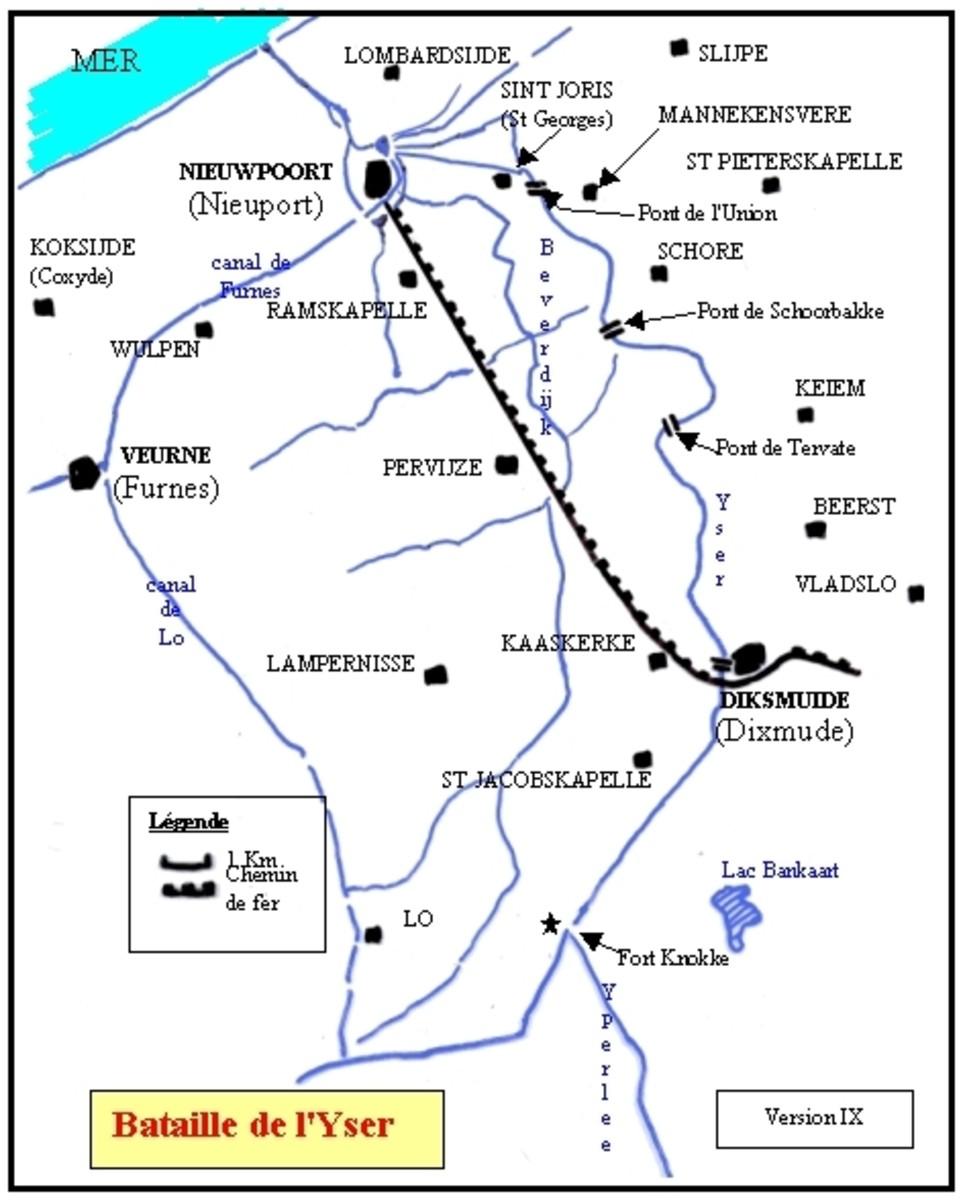 WW1: Yser 1914 map (French).