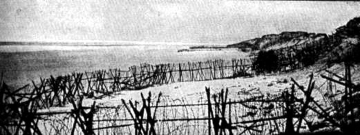 "WW1: Barbed wire on the beaches. The ""End of the Line"": the Western Front of World War I reaches the sea near Nieuwpoort."