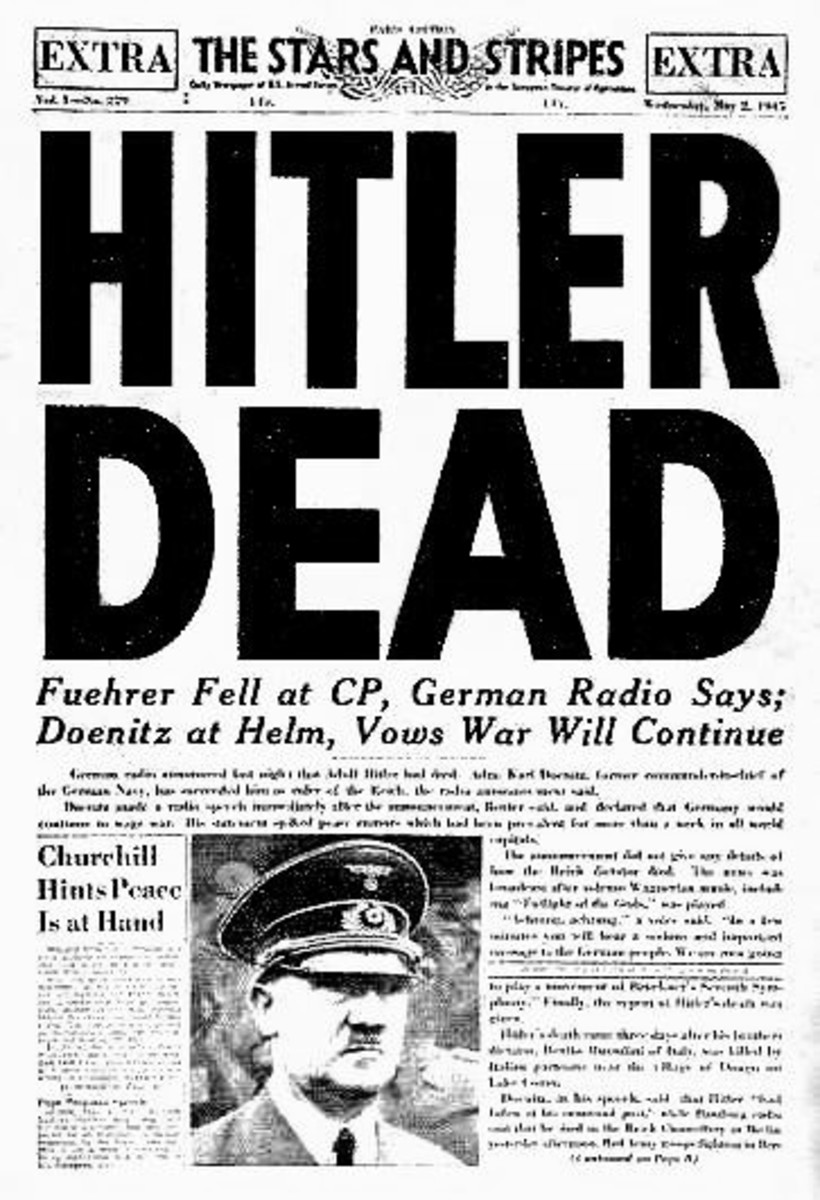 A headline in the U.S. Army newspaper Stars and Stripes announcing Hitler's death. 2 May 1945