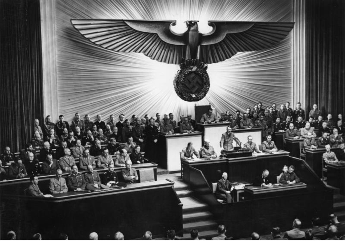 Adolf Hitler delivers a speech at the Kroll Opera House to the men of the Reichstag on the subject of Roosevelt and the war in the Pacific, declaring war on the United States. 11 December 1941