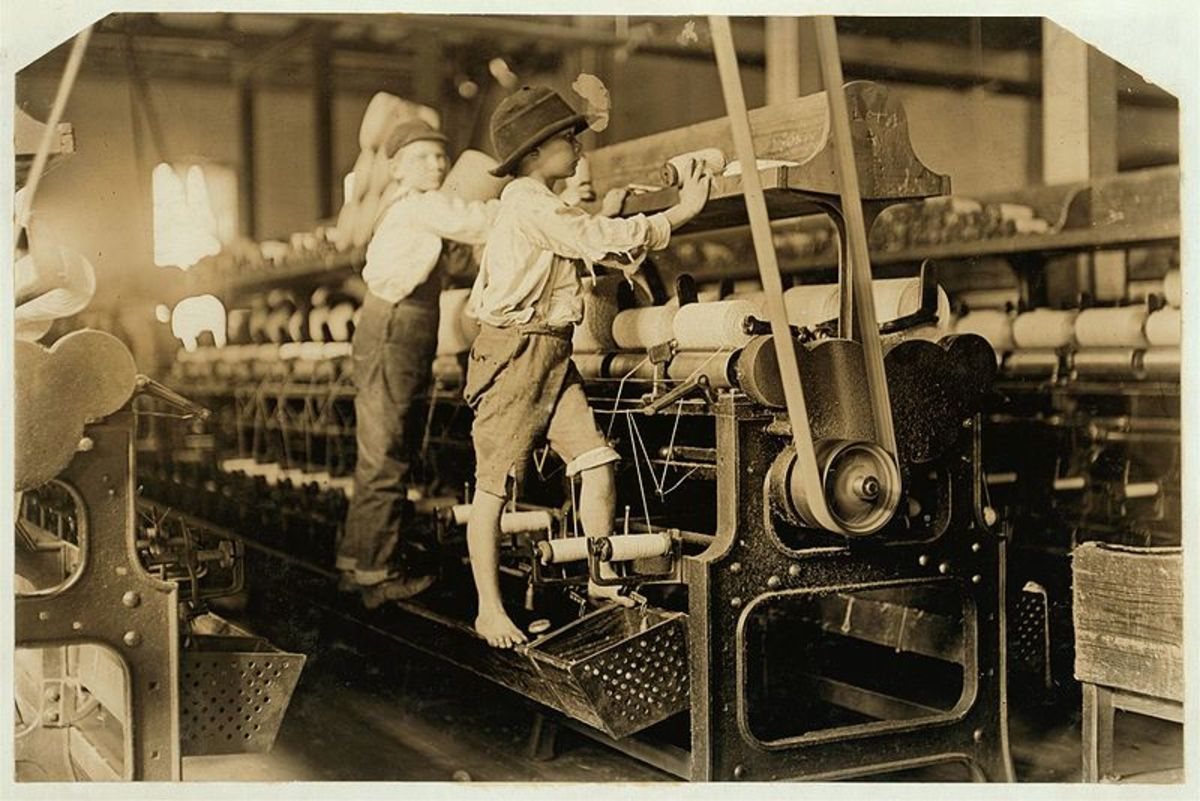Children at work in a mill in Georgia.  Child labor, often with long hours and harsh conditions, was unfortunately common during the early part of the industrial revolution.