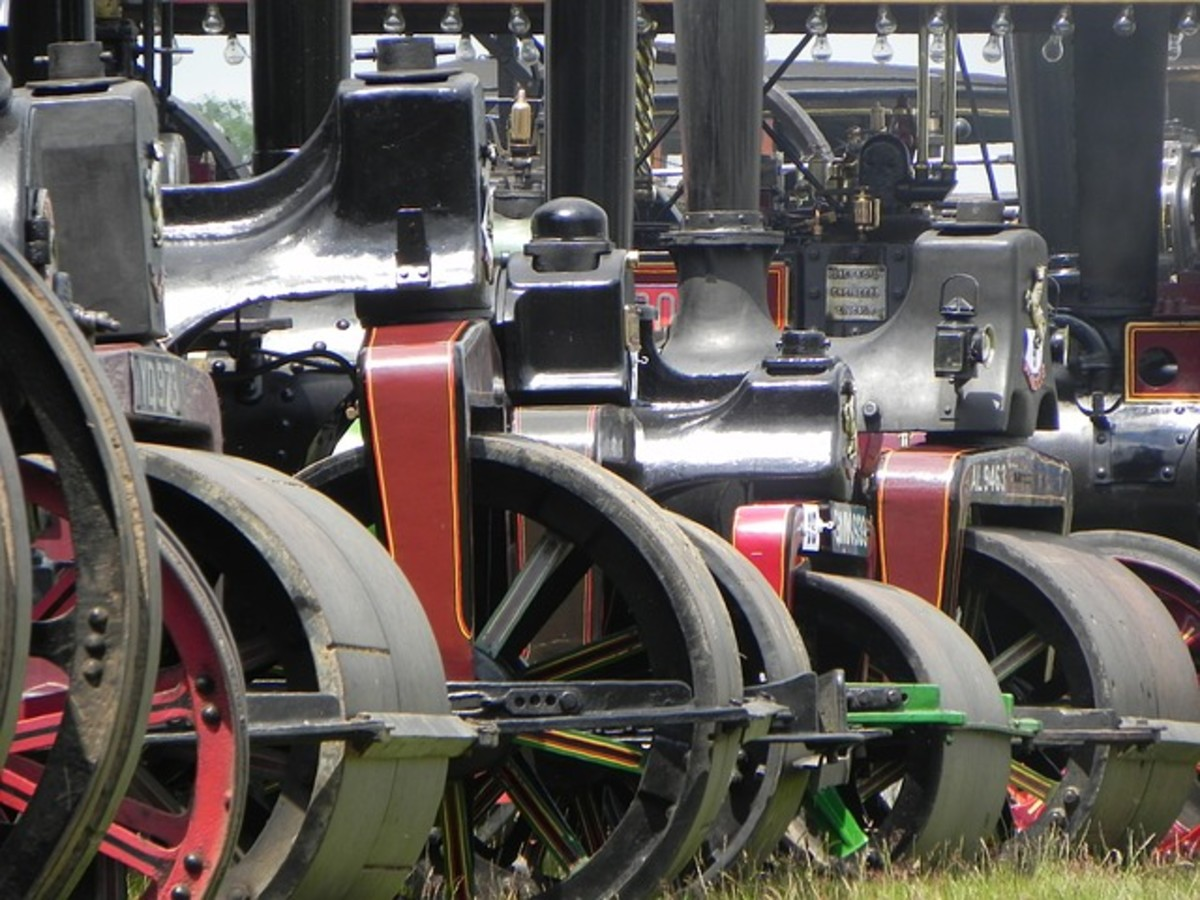 Steam powered traction engines.  Although these vehicles seem large, heavy and difficult to manoeuvre from a modern viewpoint, they revolutionized agriculture and road haulage when they were introduced.