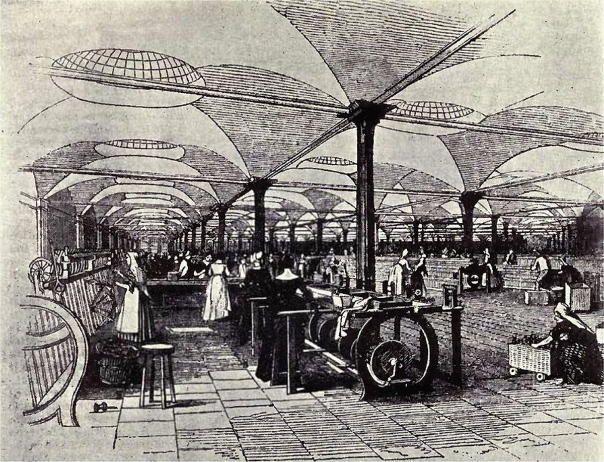 Drawing of Marshall's Mills, a flax mill in Holbeck, Leeds, England, showing workers at their machines.  The picture is taken from the Penny Magazine Supplement, December 1843.  The mill was earlier targeted in the Plug Riots of August 1842.