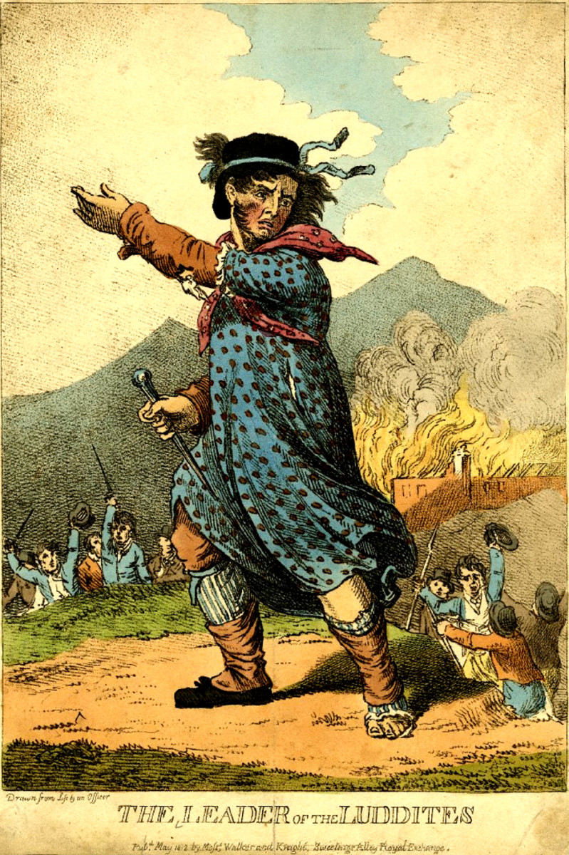 Engraving of Ned Ludd, Leader of the Luddites, 1812