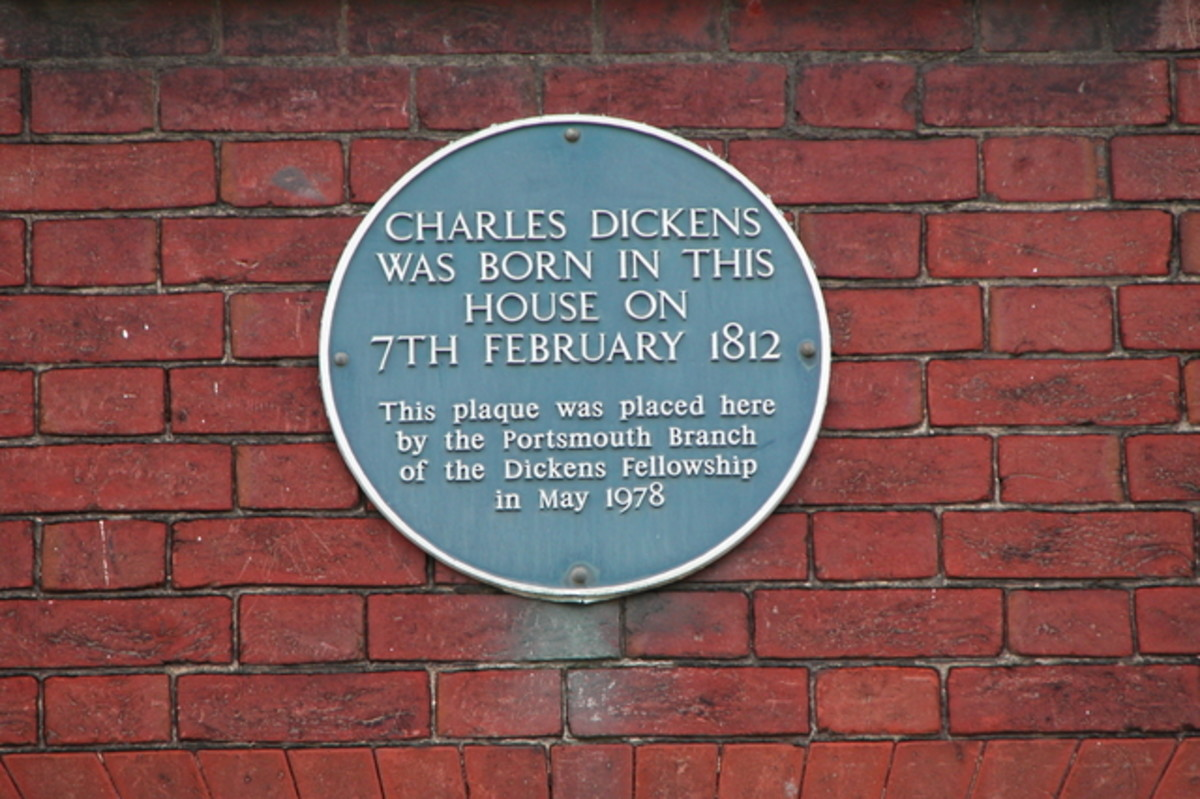 Plaque marking the birthplace of Charles Dickens. Dickens wrote numerous famous Victorian novels.