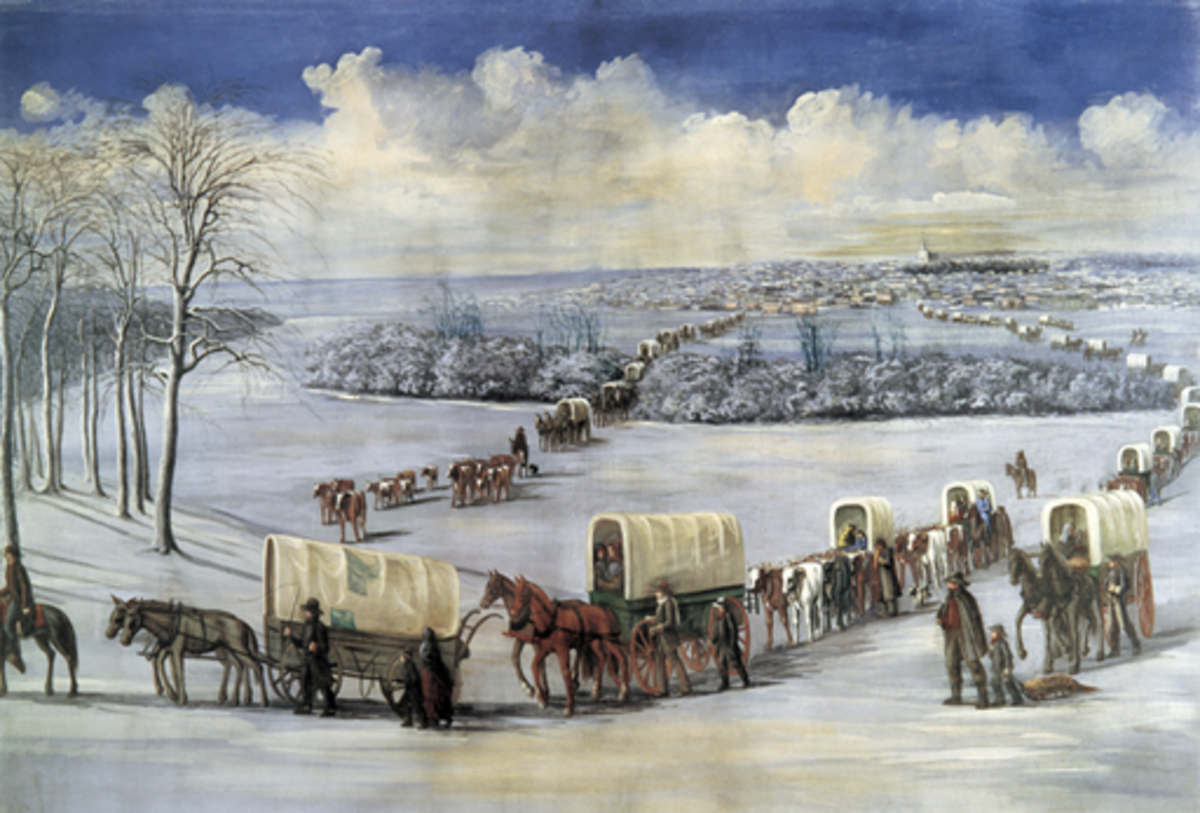 Crossing the Mississippi on the Ice - Folk art painting by C.C.A. Christensen (1878)