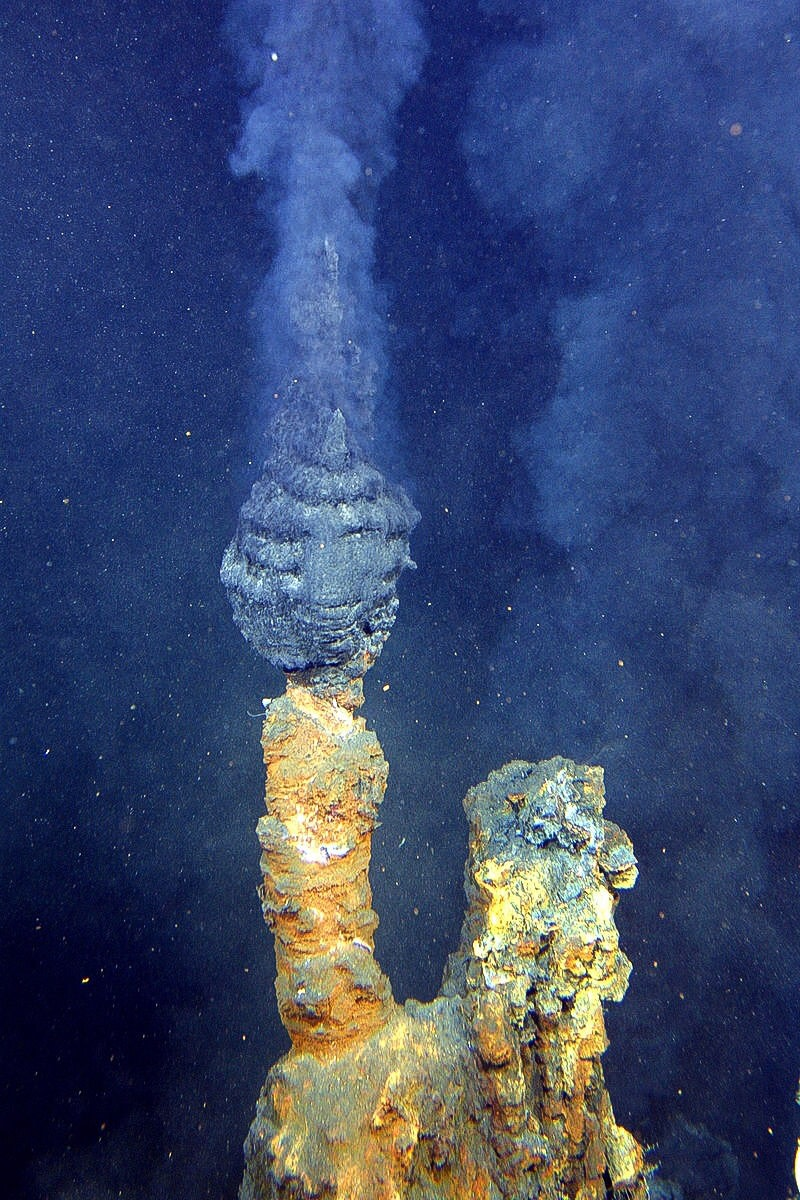 "Black smokers known as ""The Brothers"" surrounded by chimneys of precipitated minerals"