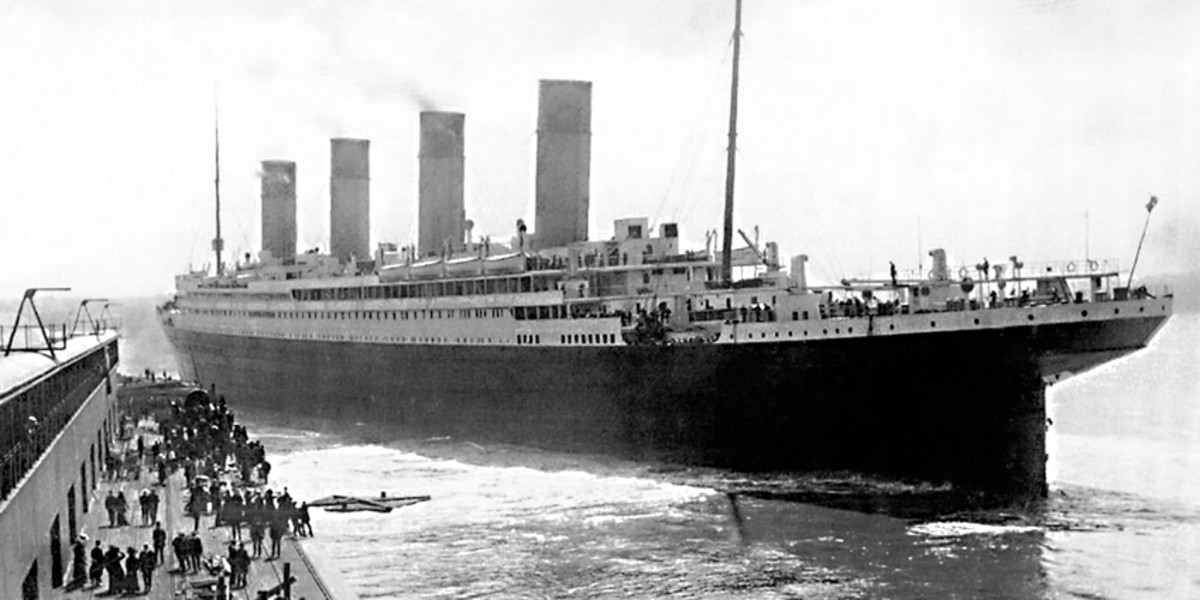 The great ship at Southampton - the start of its maiden voyage