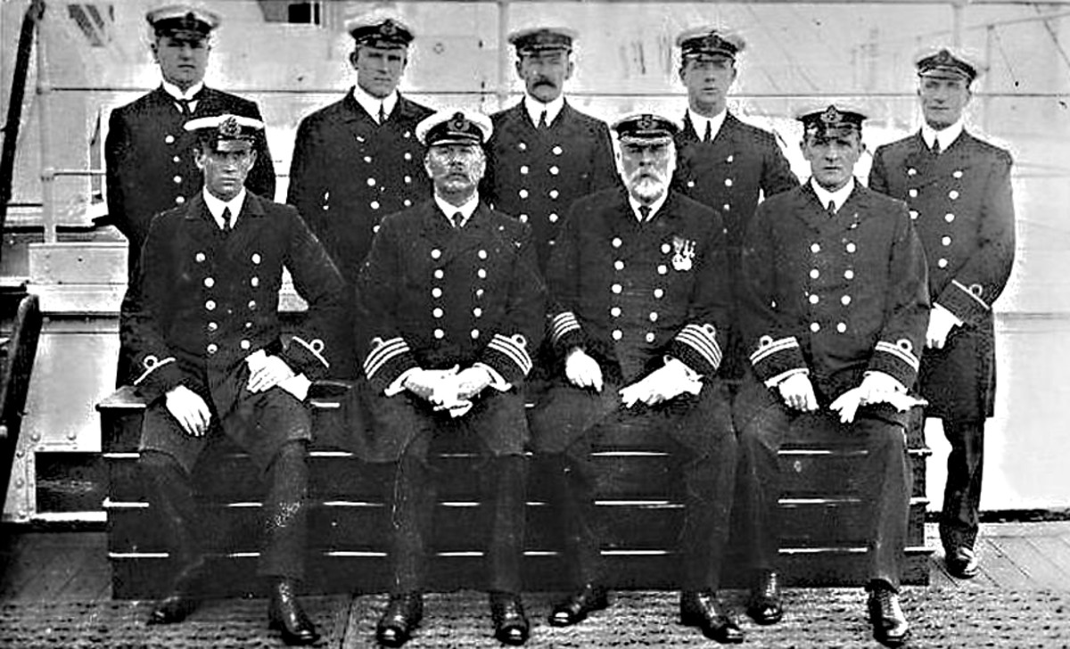 A full-bearded Captain Edward Smith with some of his crew. The Captain went down with his ship, and with the majority of the crew