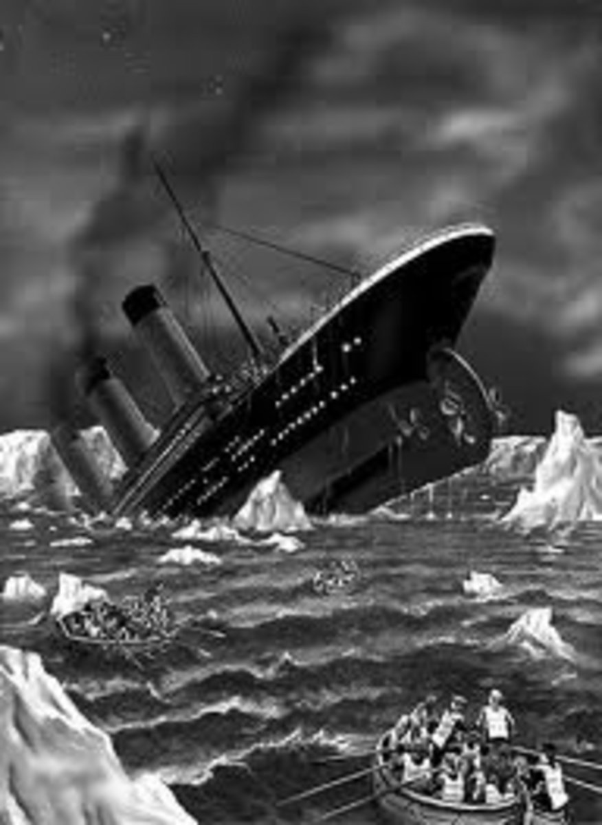 Early illustration of the sinking of Titanic