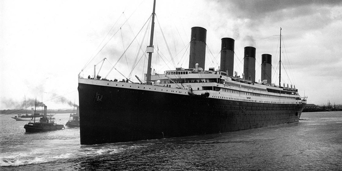 Titanic leaves the port of Cherbourg in France