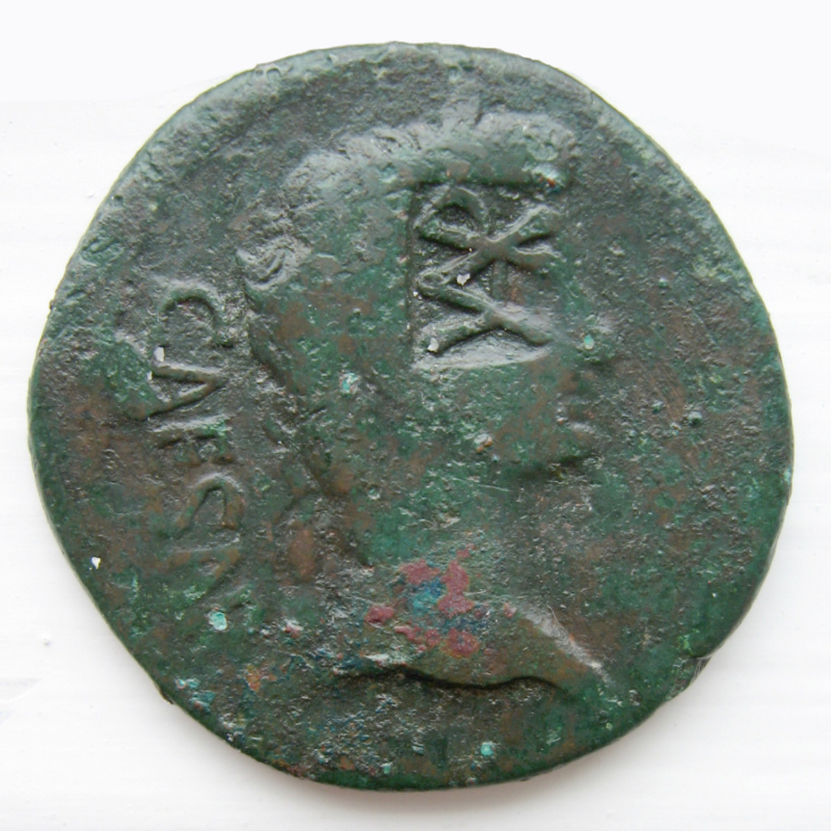 Coin from Lugdunum, a Roman City along the Rhine, bearing the initials VAR, for Varus