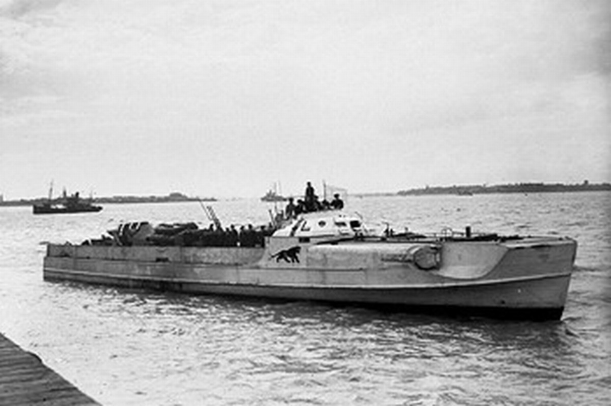 WW2: A German E-boat (German nomenclature: S-boot). Note the torpedo tubes built into the front sides.
