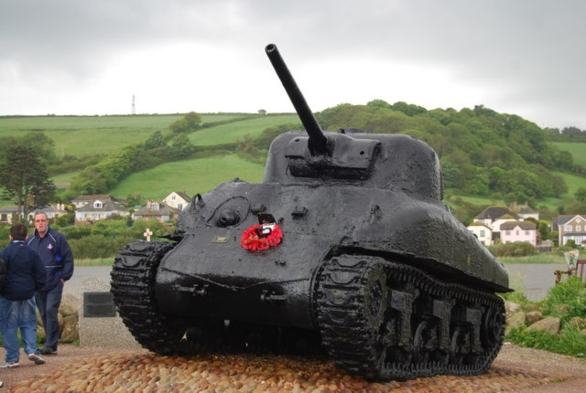 American Memorial in Torcross. This Sherman tank. raised from the waters near Slapton Sands, commemorates the US troops who died in an accident in Start Bay, whilst practising for D-day.