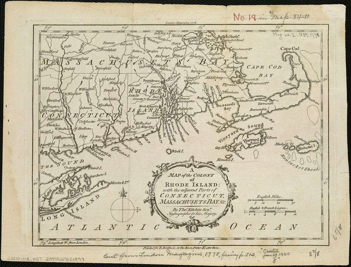 Map of the colony of Rhode Island.