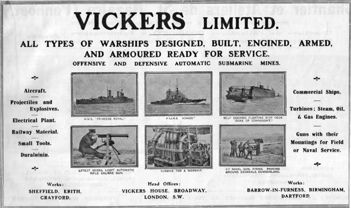 A Vickers Ltd advertisement showing its varied armaments capabilities. June 1914 (one month before war broke out).