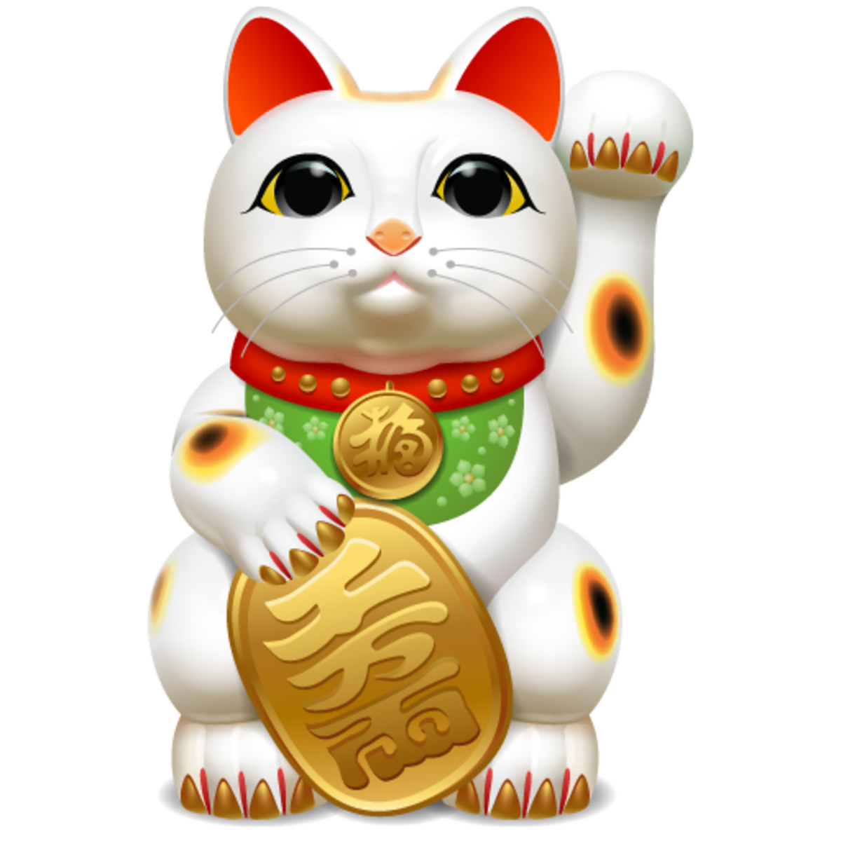 The higher the paw is raised, the more wealth, luck and prosperity Maneki Neko will bring you. The coin attracts wealth.