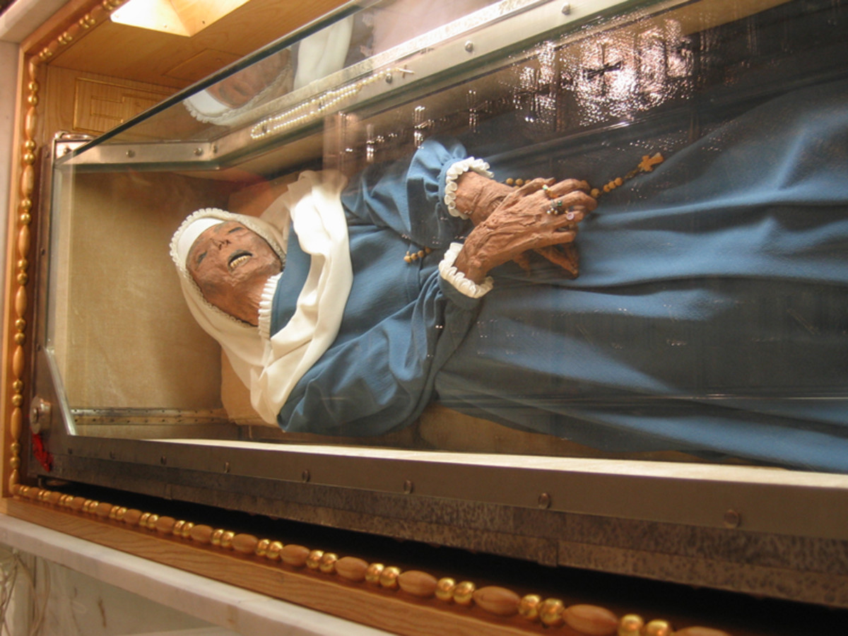 St. Virginia today. Unlike St. Bernadette, St. Virginia's face and hands were left uncovered.