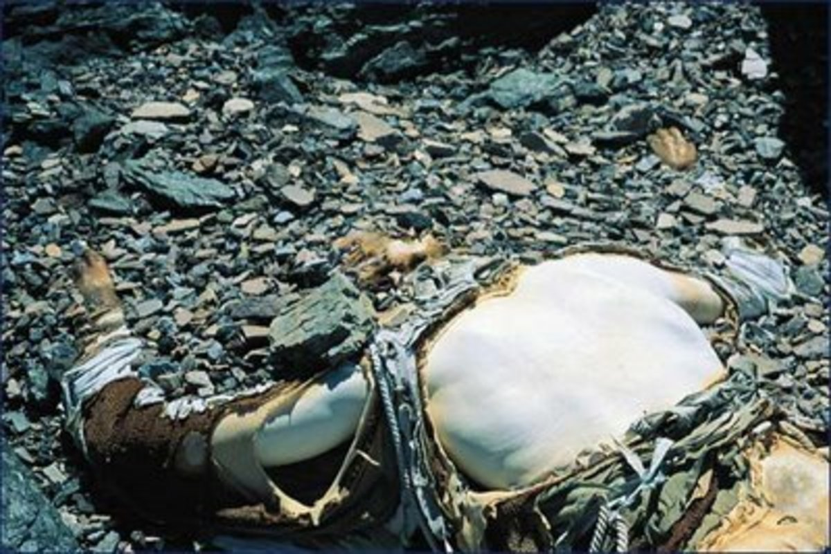 Mallory's mummified body as it was found in 1999.