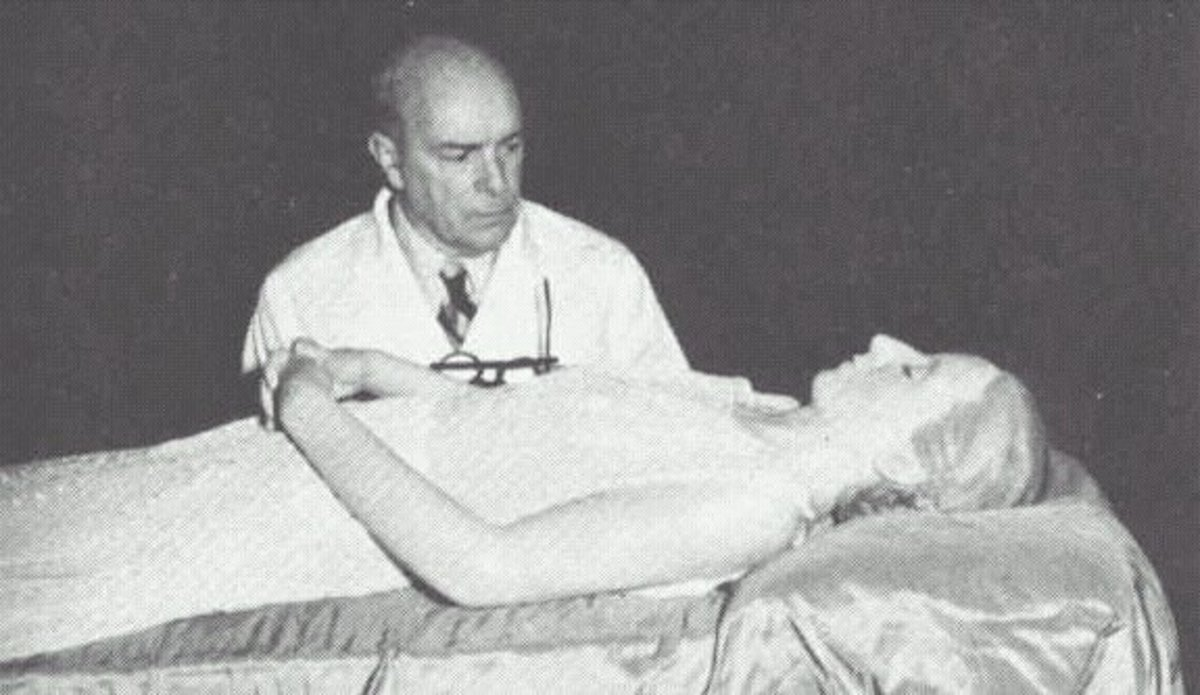 Dr. Pedro and Evita shortly after the embalming process was completed.
