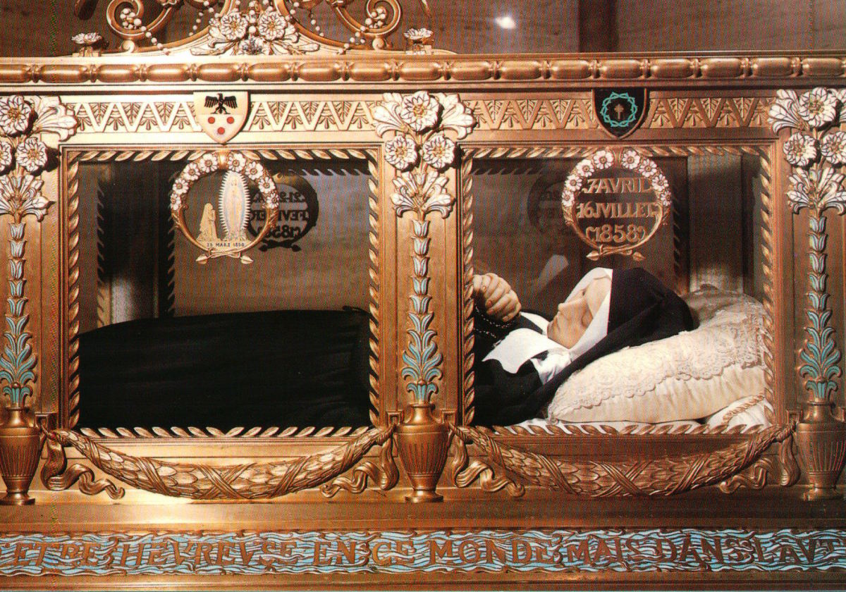 St. Bernadette's body lays in a gold reliquary.