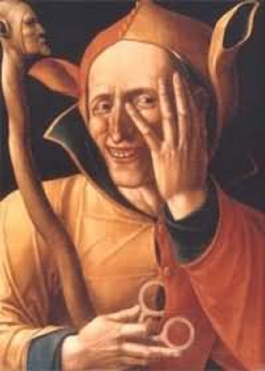 """15th century painting """"The Laughing Jester,"""" Art Museum of Sweden, Stockholm"""