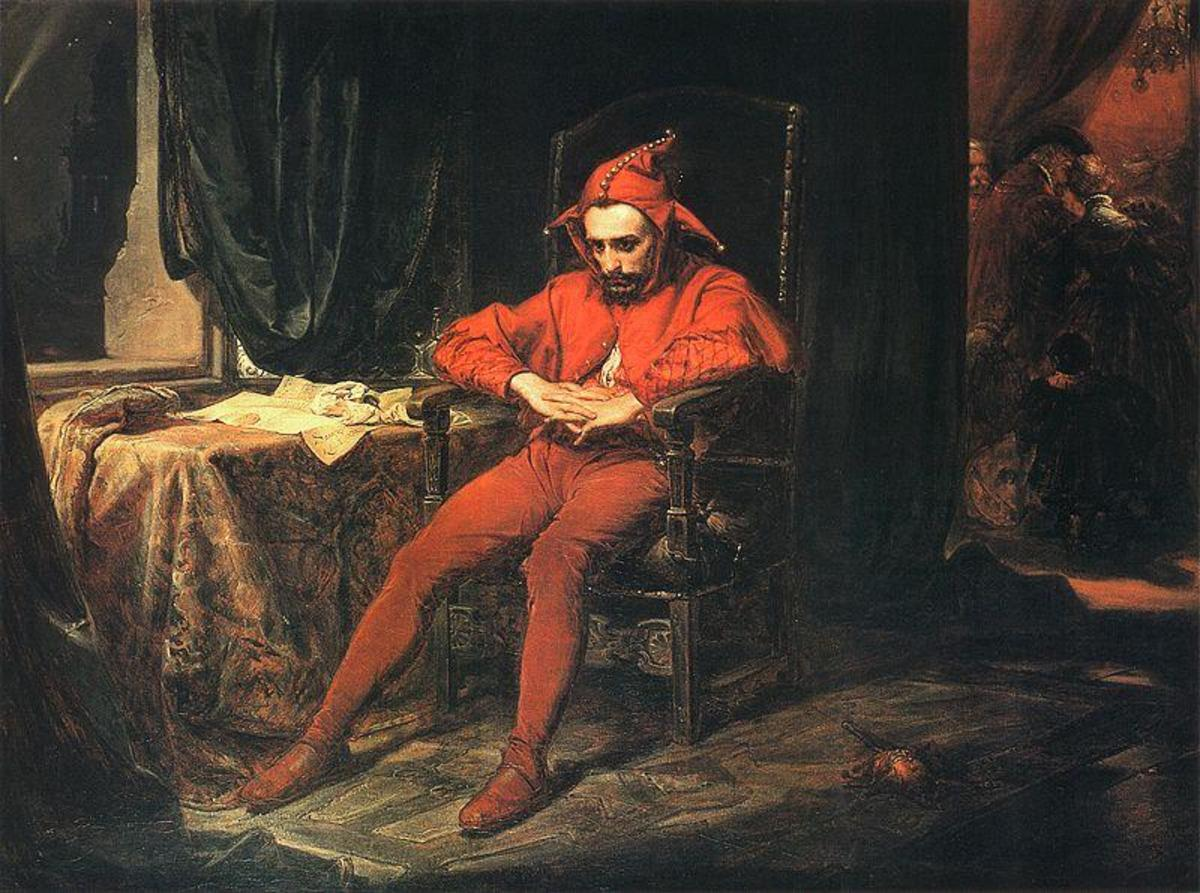 An 1862 painting depicting Stańczyk, dejected after receiving news of the Russian capture of Smolensk.