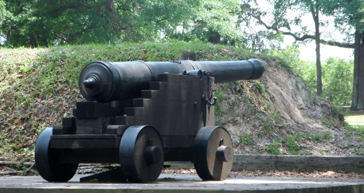 A replica of a type of cannon used by the Carolinian militia.