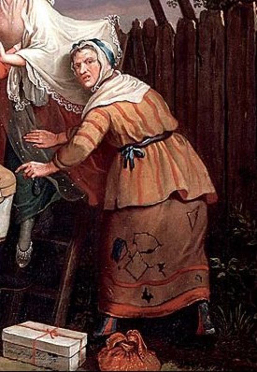 Detail of John Collet's The Elopement showing an 18th century 'lower sort' woman