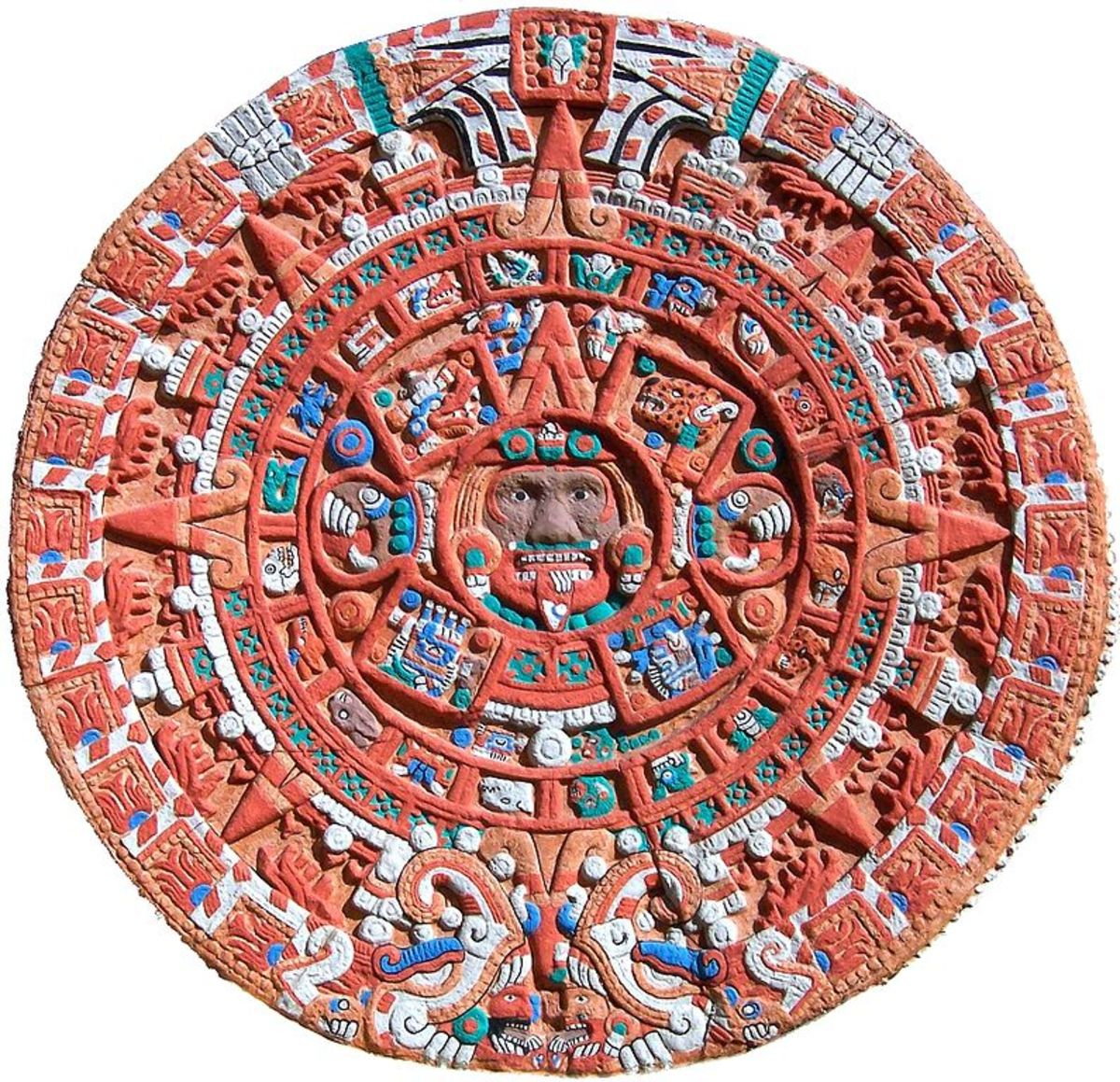 A colorized version of the Aztec calendar sun stone