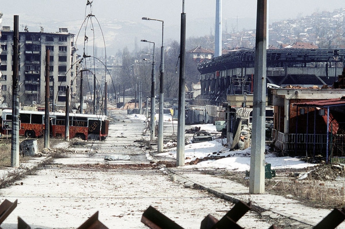 Overall view of Grbavica, a neighborhood in Sarajevo. These apartments and houses were once occupied by Bosnia Serbs.