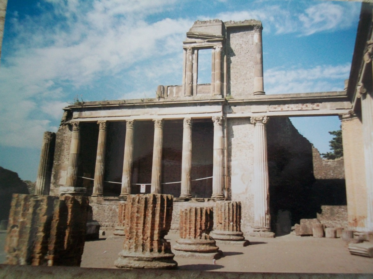 The ruins of the basilica at Pompeii give us a sense of the Greek influence on Roman architecture.