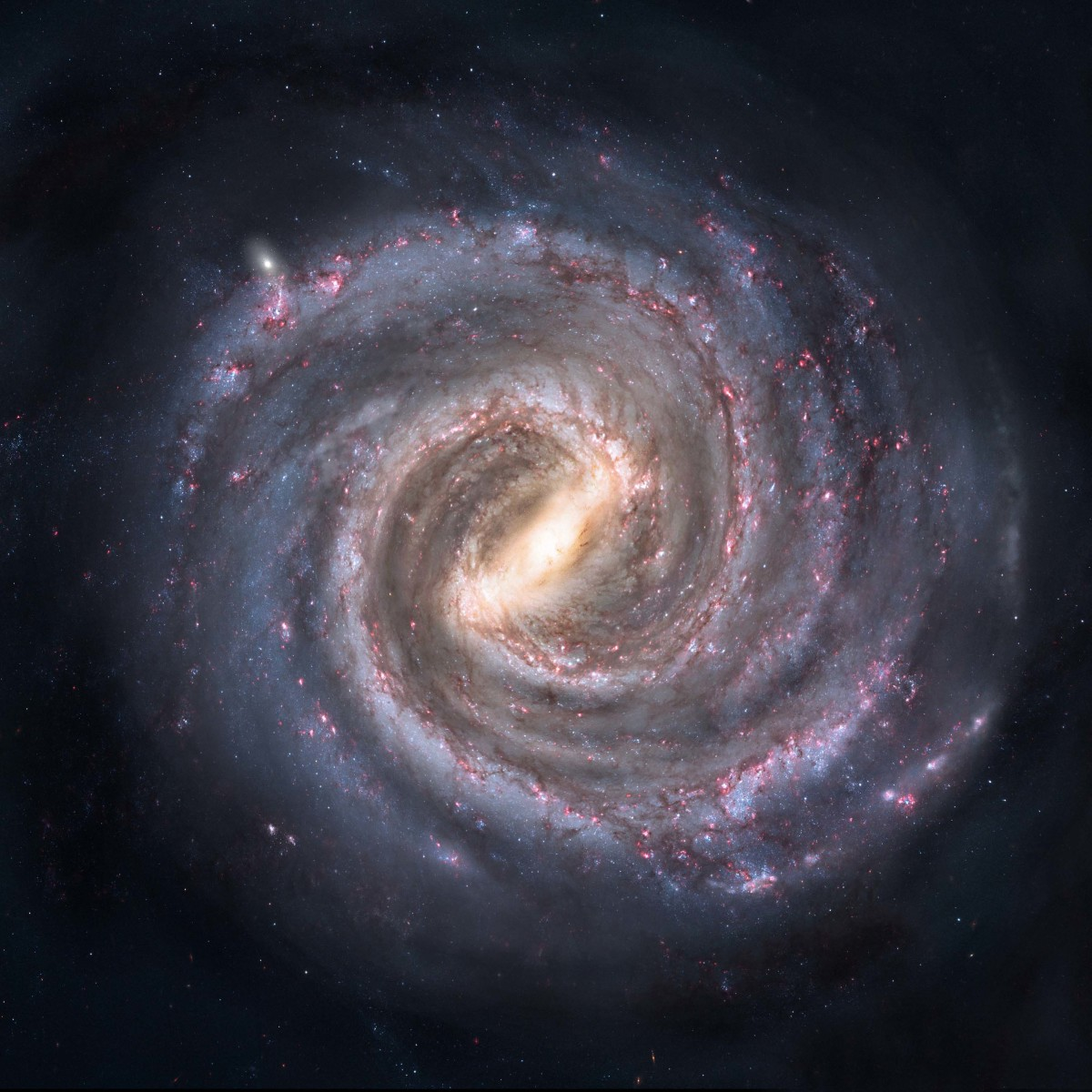 This is what our galaxy may look like if viewed from above the galactic centre