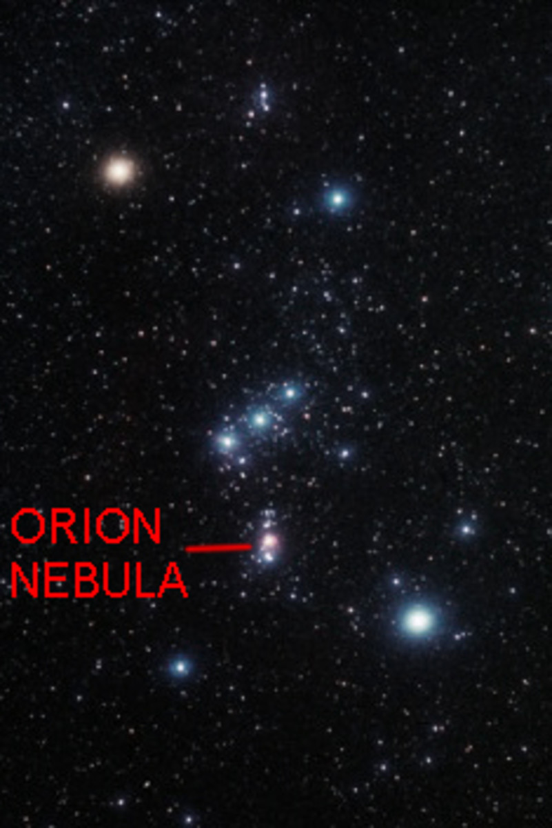 The Orion Nebula, visible as a fuzzy smudge in the Orion Constellation - this is the easiest bright nebula to locate in the night sky