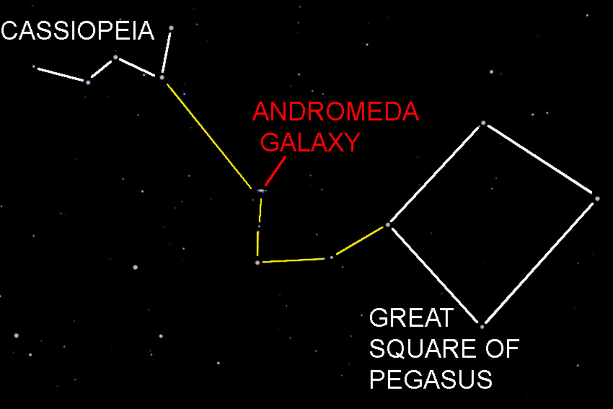 Locating the Andromeda Galaxy using Cassiopeia and the Great Square of Pegasus