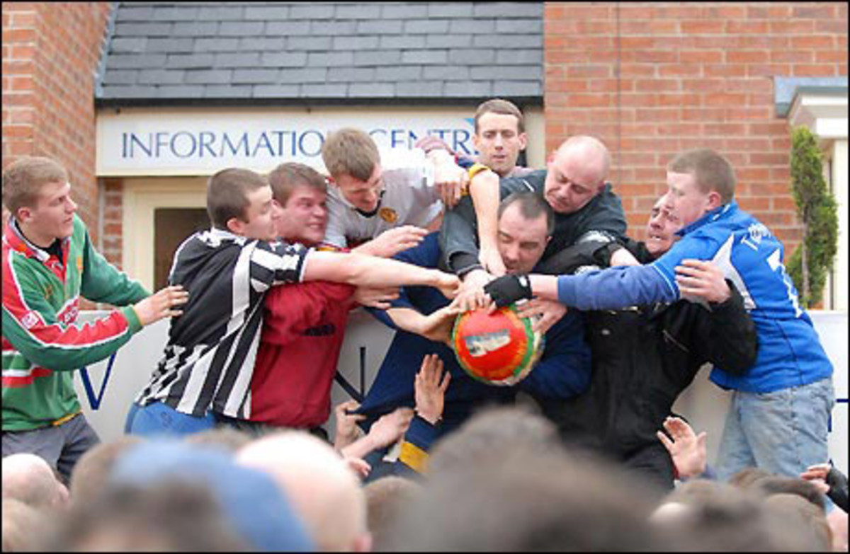 Action from the Royal Shrovetide Football Match