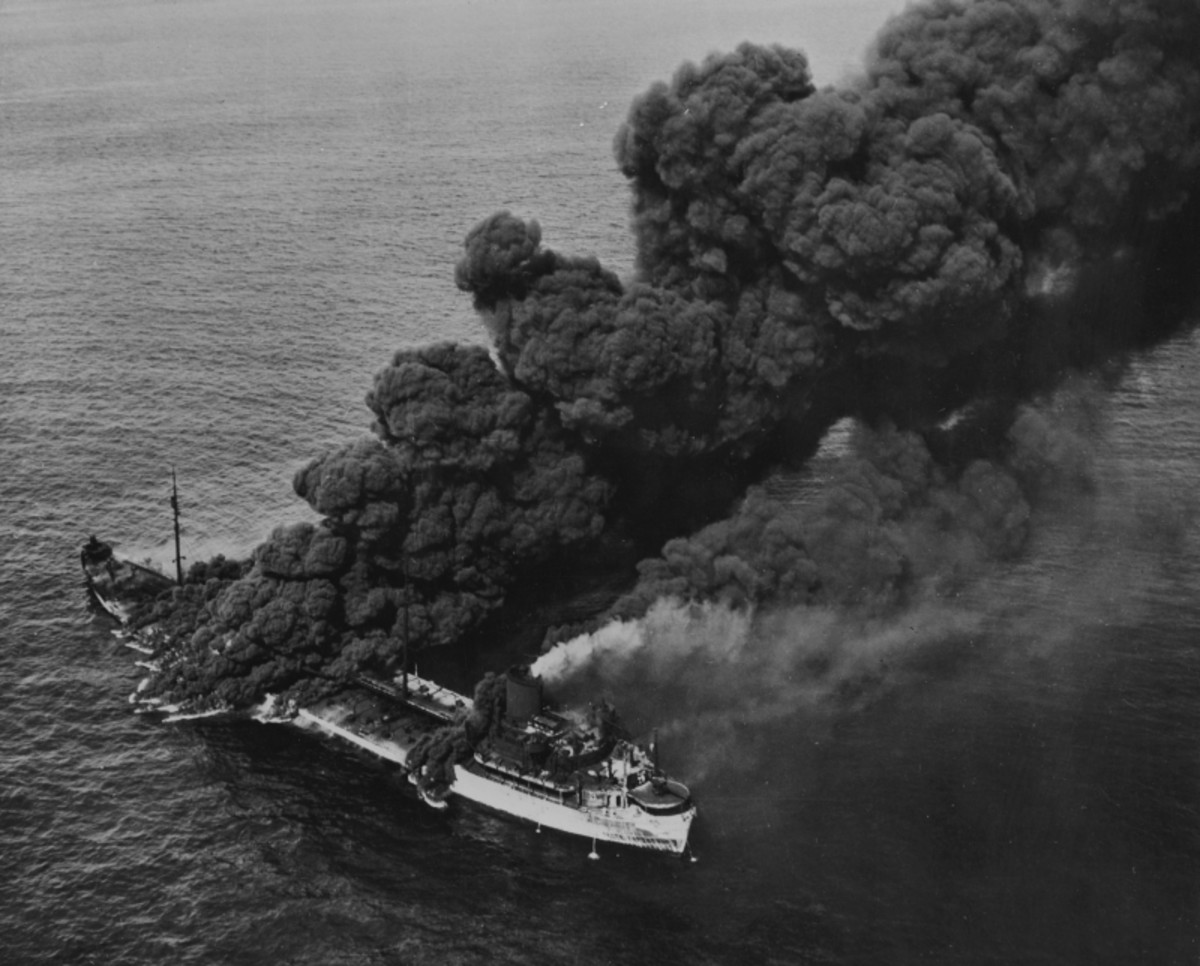 WW2: The U.S. oiler SS Pennsylvania Sun torpedoed by the German submarine U-571 on 15 July 1942, about 200 km west of Key West, Florida (USA). Pennsylvania Sun was saved and returned to service in 1943.
