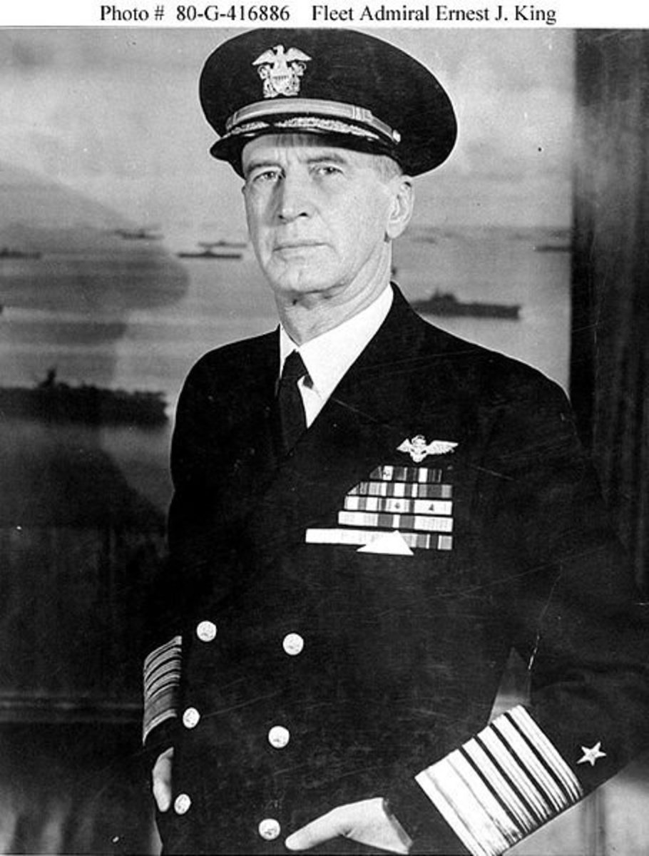 Fleet Admiral Ernest J. King, USN  9th Chief of Naval Operations.Circa 1945