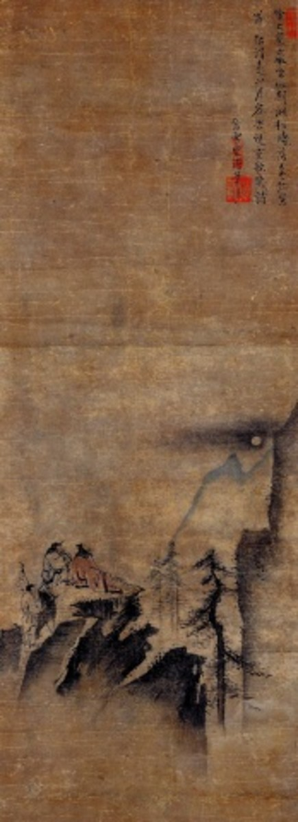 An ancient Chinese painting depicting two men observing the moon. Can you see the distance and the void between the two men and the moon?