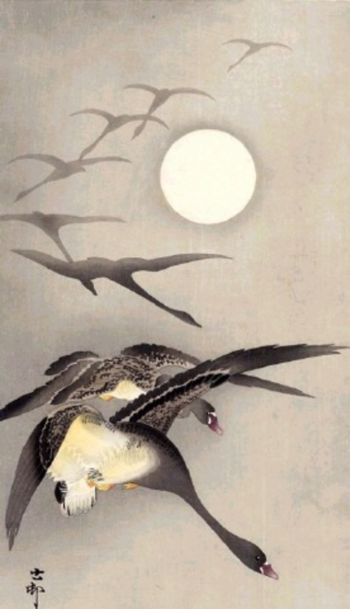"""Flight of Ducks"" by Japanese painter Ohara Koson (1877-1945)."