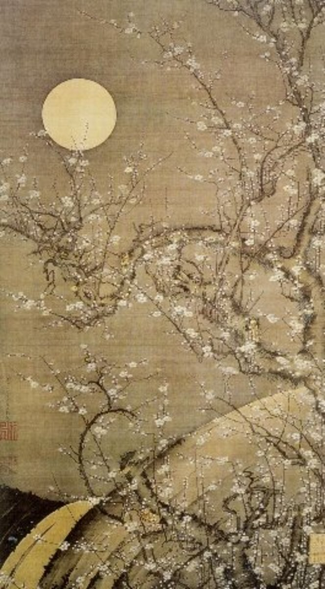 """White plum in the moonlight"" by Itō Jakuchū (1716-1800)."