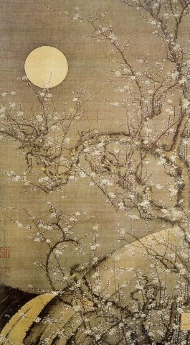 """White plum in the moonlight"" by Itō Jakuchū (1716-1800)."